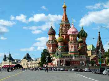 St Basil's Cathedral on Red Square with Gums in the background