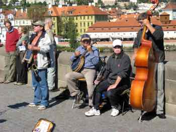 Street Musicians crowd the Charles Bridge in Prague