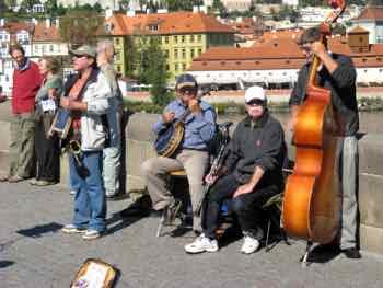 Street Musicians crowd the Charles Bridge in Prague