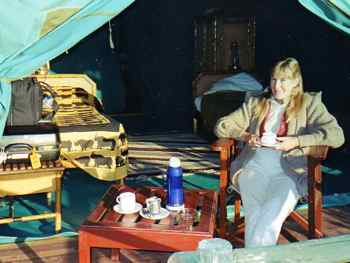 Morning coffee delivered to your tent at some African tented camps