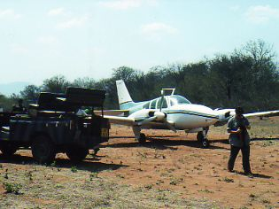 Flying to a remote safari camp Africa