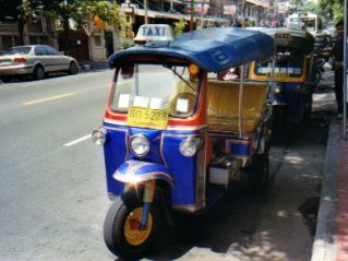 Tuk-tuks on the street in Bangkok Thailand