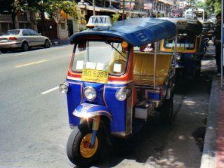 Tuk-tuks on the street in Bangkok Thailand