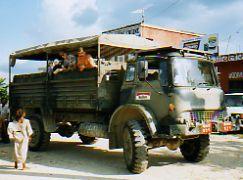 Monkey on truck to Royal Chitwan NP Nepal