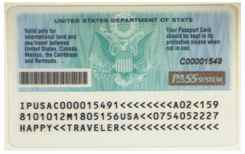 Sample U.S. Passport Card - back