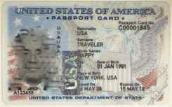 Sample U.S. Passport Card Front