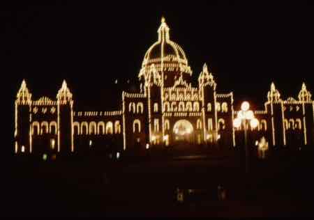 Victoria Parliament building glows at night