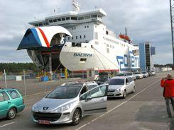 Waiting to drive onto Polferry - Polish ferry