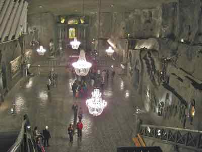 Ball room with chandeliers - all of salt in Krakow Salt Mine