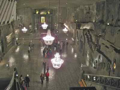 Ball room with chandeliers - all of salt in Krakow Salt Mine