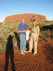 Toasting the sunset at Uluru (Ayers Rock)