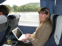 On the hydrofoil Budapest to Bratislava - Using the laptop