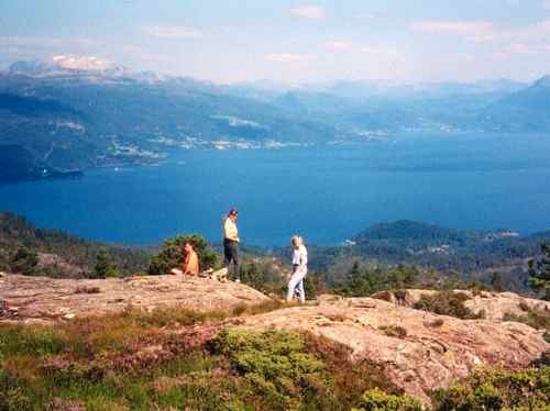 Hike on Varaldsoy Island in the Hardanger Fjord, Norway