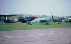 Spitfires and Hurricanes at Duxford airshow