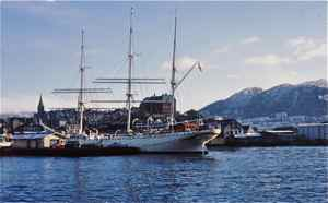Bergen Harbor with tall ship Statsraad Lehmkuhl