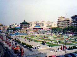 Xian city park and Bell Towe