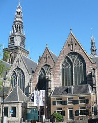 The Old Church in Amsterdam sits in the red light district.
