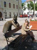 Looking over your shoulder - Bratislava art