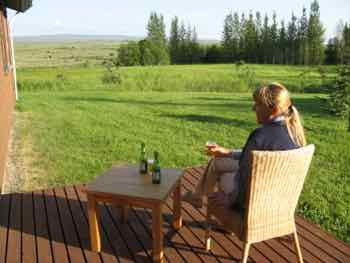 Beer from the store was cheaper on our cabin deck in Iceland.  Nice view too.