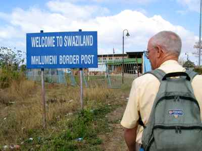 Border Crossing into Swaziland - We had to walk across