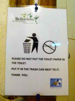 Don't throw toilet paper in the toilet - at a cloud forest lodge in Ecuador