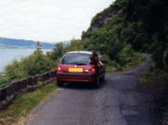 Loch Fyne Scotland: narrow roads, and you drive on the left