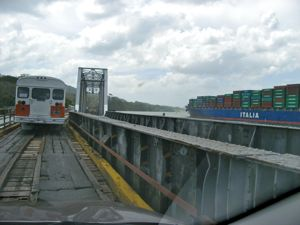 On the one-lane bridge into Gamboa... cars, trains and Panamax container ships travel side by side.