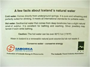 Iceland Hotel Card Natural Hot Water makes for Green Travel