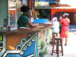 Reception Desk and Bar Fatimas Backpackers Hostel Mozambique