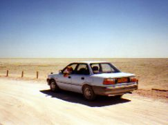 Mark in our Rental Car at Etosha Pan Namibia