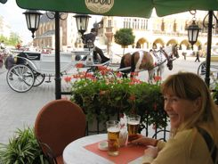 Sidewalk cafe for a great view in Krakow