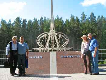 A monument marks where you cross from Europe into Asia outside of Yekaterinburg, Russia