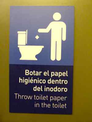 OK to throw toilet paper in the toilet at Quito Airport
