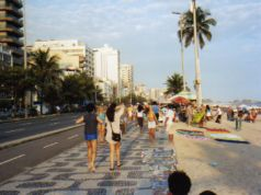 Crowded beach sidewalk at Ipanema Rio - Stay alert for pickpockets!