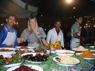 Eat cheap at a food stall in Marrakesh