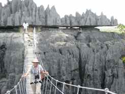 One at a time! Suspension bridge Tsingy