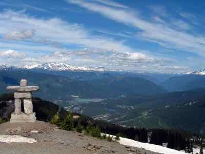 Winter Olympic statue and Whistler Panorama in summer