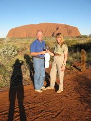 Toasting the sunset at Uluru (Ayers Rock)